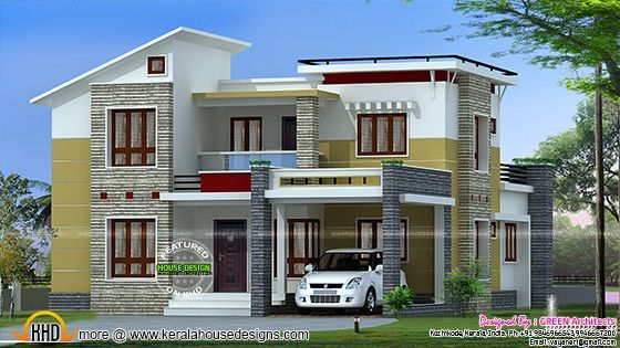 2200 Square Feet Slanting Roof Mix Home House Outside Design Kerala House Design Architectural House Plans