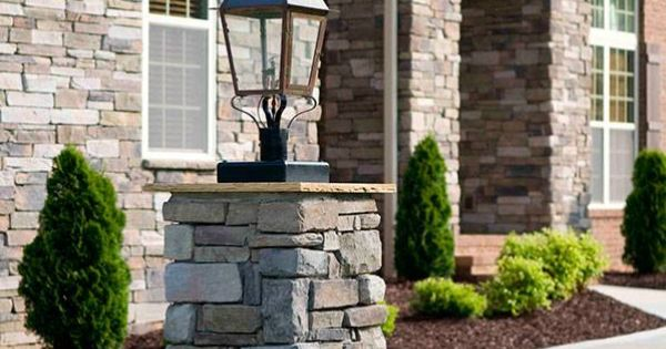 Stone columns add interest instead of all brick and for All brick