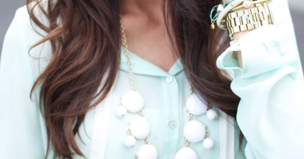 Pink Peonies: J. Crew statement necklace, mint blouse, cat's eye sunnies and