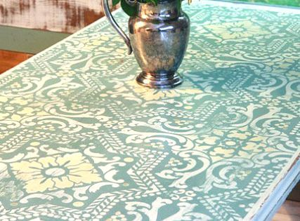 Chalk Painted, Stenciled and Distressed Dumpster Table. Tutorial by Brittany Bailey of