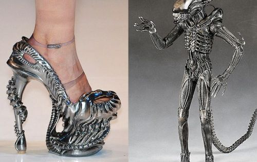 HR Giger Alien-inspired high heel designed by Alexander McQueen.