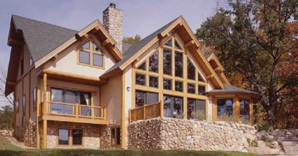 Stucco stone and log siding finishes are combined in this for Log siding house plans