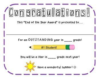 Free End Of The Year Award Certificate Teacher Planning Kindergarten Awards School Awards
