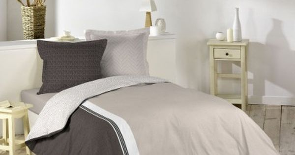 parure lit 2 places beige taupe parure de lit housses. Black Bedroom Furniture Sets. Home Design Ideas