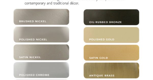 Color Chart Brushed Nickel Polished Nickel Satin Nickel Hardware Brushed Nickel Satin Nickel