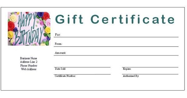 gift certificate template free fill-in | Free Printable ...
