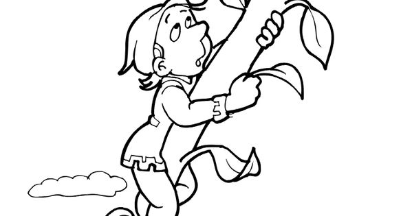 Coloring page of jack climbing up the beanstalk unit 8 for Jack and the beanstalk coloring page