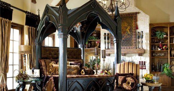 침실, 침실 가구에서 대형 인쇄 카펫 또한 무서운 성 디자인과 ...
