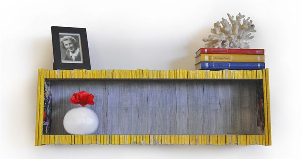 Shelf made from back issues of National Geographic: 'This colorful shelf is