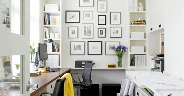 Like 2 workspaces, light fixture, picture collage and storage