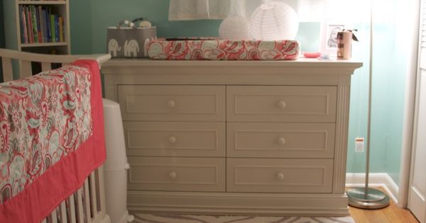 More of the robins egg blue and coral room. Love these colors