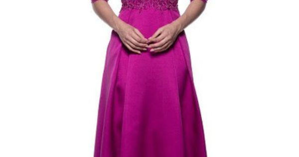Beautiful Magenta 3/4 Sleeves Mother Of The Bride Dress