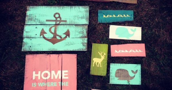 Pallet signs with silhouette cameo