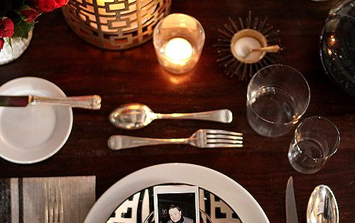 Decoration, Beautiful Thanksgiving Place Settings In Red White Black Concept And Brass