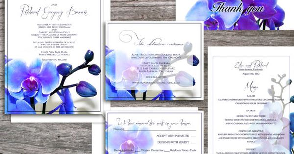 Orchid PRINTABLE WEDDING INVITATIONS - Santa Monica Blue Orchid Suite (invitation and