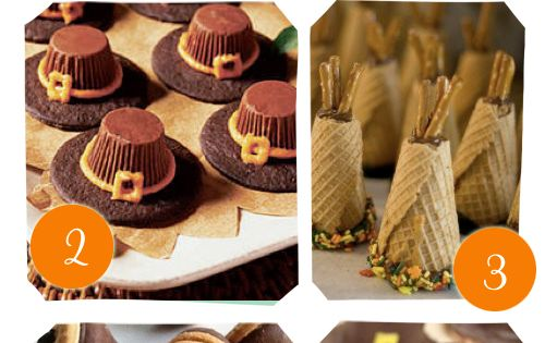 candy turkeys pilgrim hats acorns
