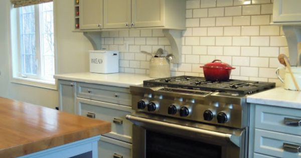 Bedford White Kitchen Cart With Butcher Block Top : The cabinets are painted Bedford Grey by Martha Stewart. The island butcher block is from Ikea ...