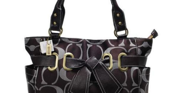Coach Poppy Bowknot Signature Medium Coffee Totes ANA Can Bring You Happiest