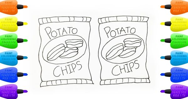 How To Draw Potato Chips Coloring Pages Crisps Set Drawings And