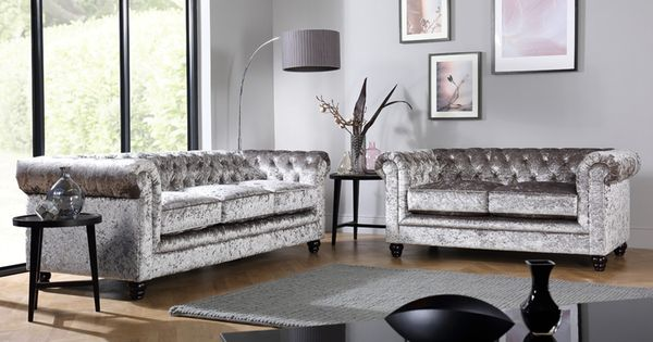 Hampton Silver Crushed Velvet 3 2 Seater Chesterfield Sofa Set Furniture Choice Silver Sofa Living Room Velvet Living Room Silver Velvet Sofa