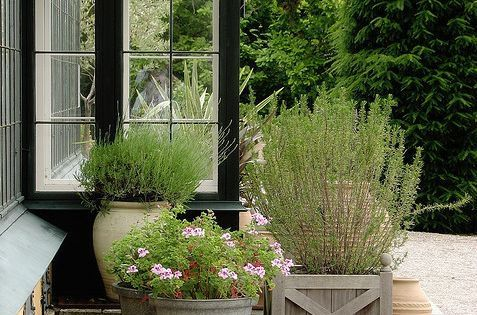 Container garden, pea gravel patio