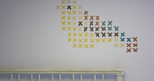 cross stitch washi tape wall art