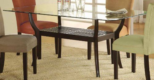 Rectangular Dining Table With Glass Top Cappuccino Finish Furniturendecor Com Dining Room Sets Dining Table Bases Casual Dining Rooms
