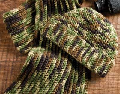 Free Crochet Pattern Hunting Hat : Mans Camo Hat & Scarf Crochet Pattern - Crochet a warm ...