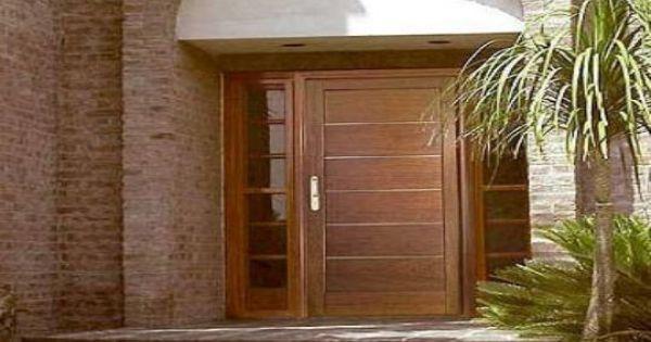 Puerta de exterior combinaci n de madera y cristal con for Puertas dobles de madera
