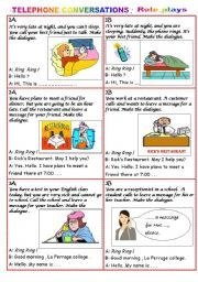 Telephone Conversation Role Plays Roleplay Conversation Cards English Lessons For Kids