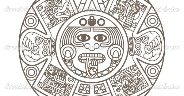 Aztec Calendar Coloring Page Tattoo  Homeschool  Rome to the