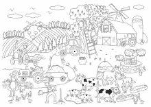 Malvorlagen Vom Bauernhof Fur Kinder Zum Ausmalen Wimmelbild Thema Bauernhof Ausmalen