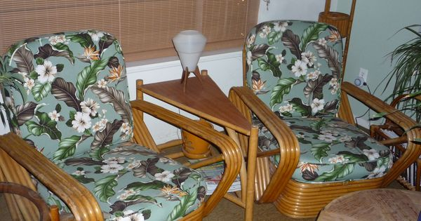 Mid century paul frankl rattan pretzel chairs mid for Living room kumu kahua