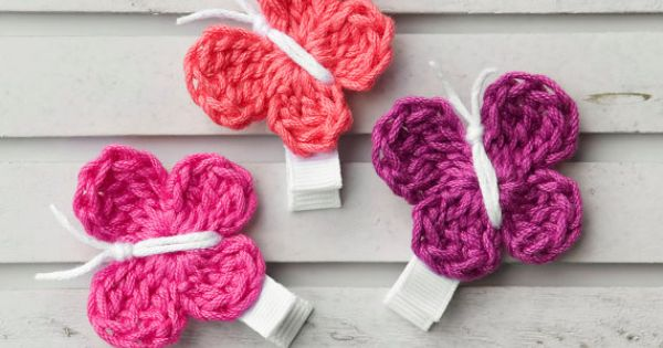 Crochet Hair You Can Brush : Crochet BUTTERFLY Hair Clips. Get practicing on crocheting and you can ...