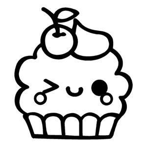 Kawaii Cupcake Wink Desenhos Fofos Para Colorir Desenhos