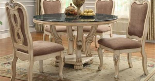 54 Genesis Whitewash Round Marble Dining Table Set Dining Table