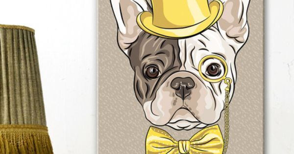 adorable petit bulldog avec monocle chapeau et noeud papillon jaunes assortis un tableau pr t. Black Bedroom Furniture Sets. Home Design Ideas