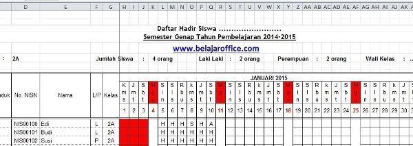 Download Absensi Siswa Excel Rekap Otomatis Belajar Guru Nama