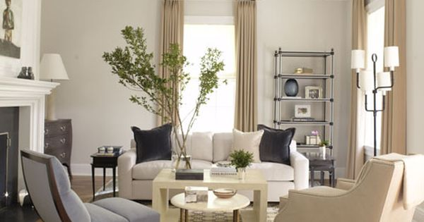 Light Beige Walls White Trim Blue Accents Living Room