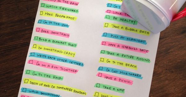 To Do list for 2nd year of marriage