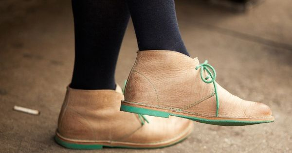 The mint green accent totally makes these desert boots