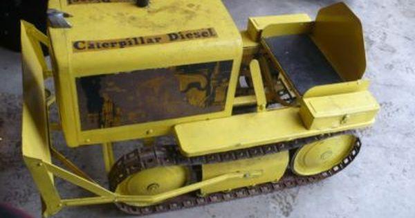 pedal car antique caterpillar bulldozer pedal car with original metal tracks unrestored