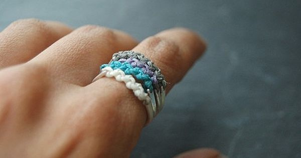 cool idea to do w/ just plain silver ring bands and yarn