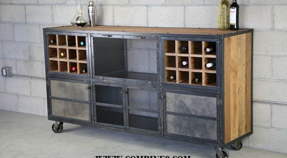 Liquor Cabinet/ Bar - Vintage Industrial, Urban-Modern design. Reclaimed wood top &