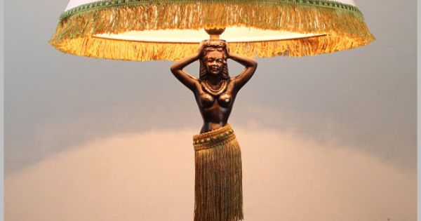 Hula Girl Table Lamp Animated Motion Pin Up Burlesque Copper Skirt 1930s 1940s Vintage Style Dodge Headache Shade Nude Topless Hula Tiki Room