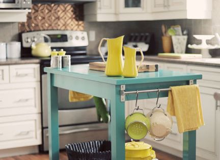 so perfect. White kitchen, colored island.