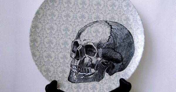 Halloween Skull Plate Decorative Plate Dining by BurkeHareCo