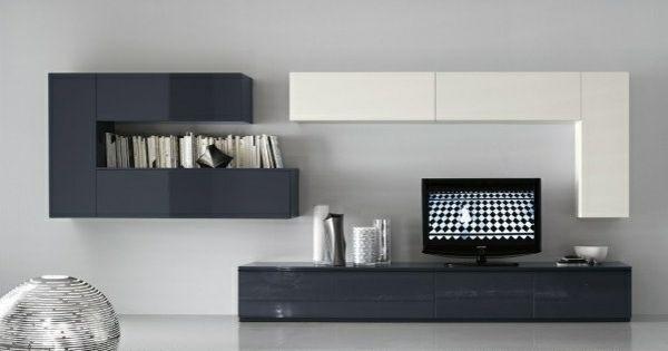 Meuble Tv Design En Blanc Et Gris Salon Sejour