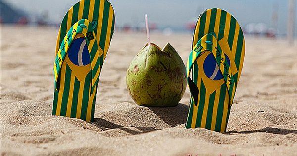 Flip-Flops and a Coconut, Copacabana Beach, Rio de Janeiro, Brazil