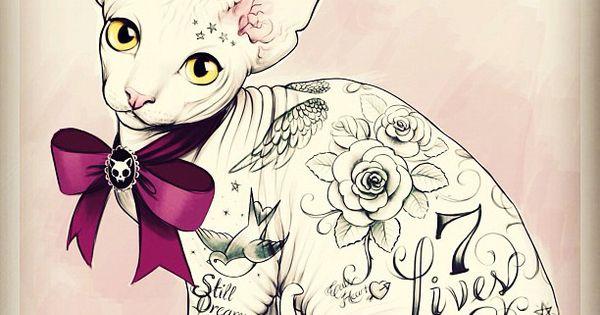 Tattoo Sketches by Tati Ferrigno CUTE KITTY CAT ART